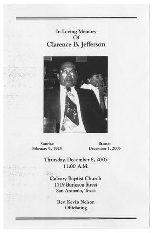 Primary view of object titled '[Funeral Program for Clarence B. Jefferson, December 8, 2005]'.