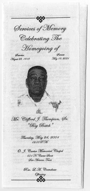 [Funeral Program for Clifford J. Thompson, Sr., May 24, 2001]