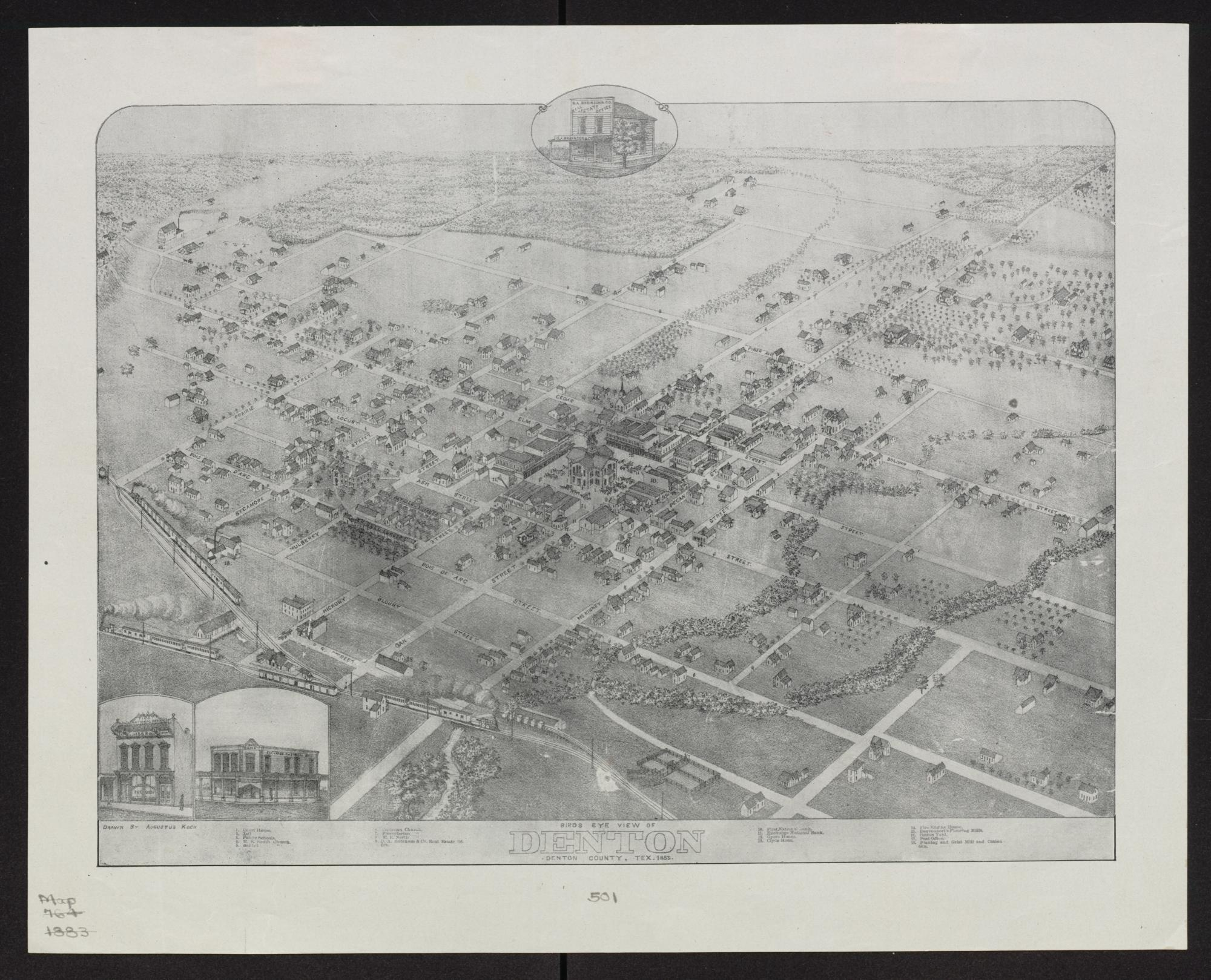 Birds eye view of Denton Denton County Texas 1883 The Portal