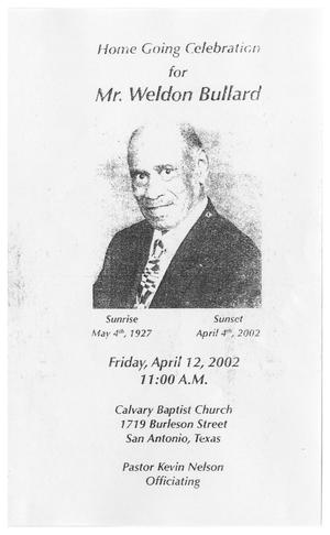 Primary view of object titled '[Funeral Program for Weldon Bullard, April 12, 2002]'.