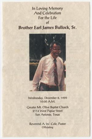 Primary view of object titled '[Funeral Program for Earl James Bullock, Sr., December 8, 1999]'.