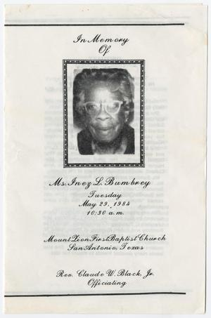 Primary view of object titled '[Funeral Program for Inez L. Bumbrey, May 29, 1984]'.