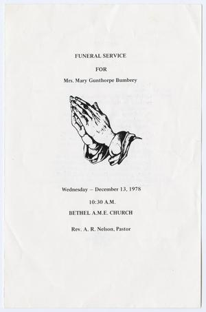 Primary view of object titled '[Funeral Program for Mary Gunthorpe Bumbrey, December 13, 1978]'.