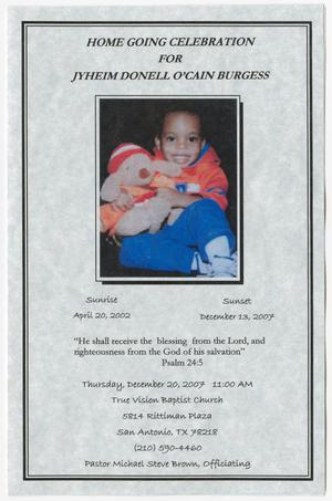 Primary view of object titled '[Funeral Program for Jyheim Donell O'Cain Burgess, December 20, 2007]'.