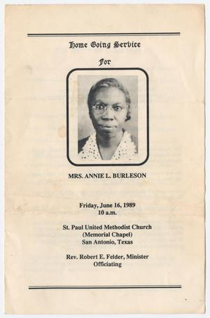 Primary view of object titled '[Funeral Program for Annie L. Burleson, June 16, 1989]'.