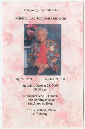 Primary view of object titled '[Funeral Program for Mildred Lee Johnson Burleson, October 21, 2003]'.