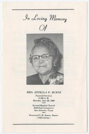 Primary view of object titled '[Funeral Program for Estella P. Burns, July 28, 1980]'.