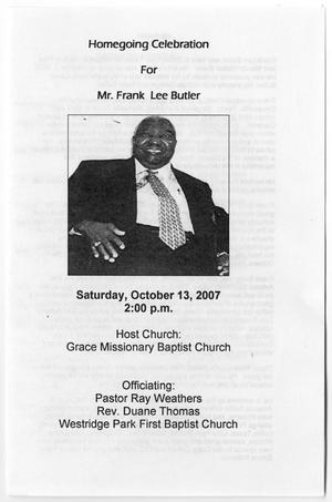 Primary view of object titled '[Funeral Program for Frank Lee Butler, October 13, 2007]'.
