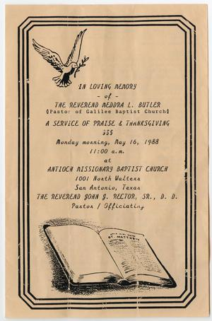 Primary view of object titled '[Funeral Program for Meddra L. Butler, May 16, 1988]'.