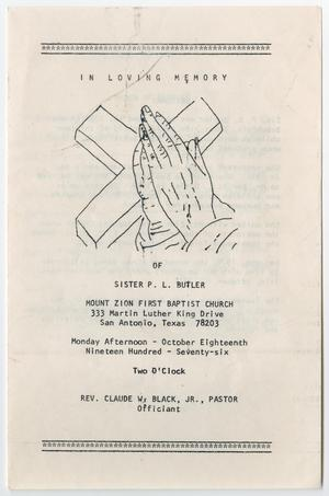 Primary view of object titled '[Funeral Program for P. L. Butler, October 18, 1976]'.