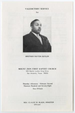 Primary view of object titled '[Funeral Program for Payton Butler, February 2, 1978]'.