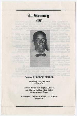 Primary view of object titled '[Funeral Program for Rudolph Butler, May 19, 1979]'.