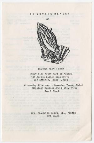 [Funeral Program for Hermit Byrd, November 23, 1983]