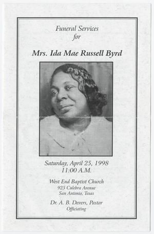 Primary view of object titled '[Funeral Program for Ida Mae Russell Byrd, April 25, 1998]'.