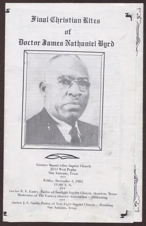 Primary view of object titled '[Funeral Program for James Nathaniel Byrd, December 3, 1982]'.