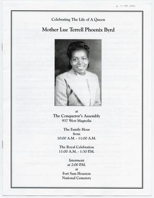 [Funeral Program for Lue Terrell Phoenix Byrd, September 2006]