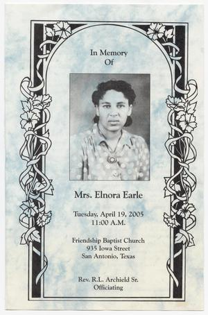 Primary view of object titled '[Funeral Program for Elnora Earle, April 19, 2005]'.