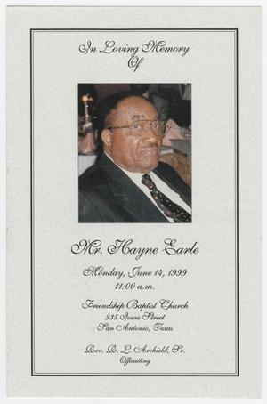 Primary view of object titled '[Funeral Program for Hayne Earle, June 14, 1999]'.