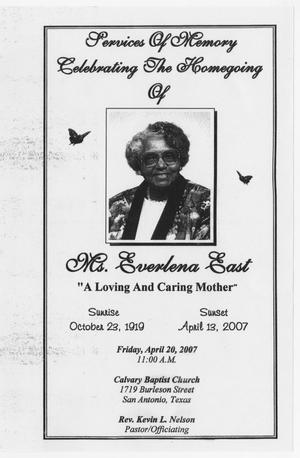 Primary view of object titled '[Funeral Program for Everlena East, April 20, 2007]'.