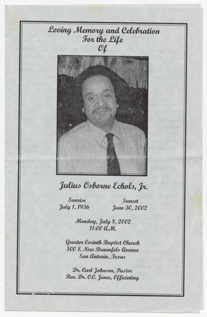 Primary view of object titled '[Funeral Program for Julius Osborne Echols, Jr., July 8, 2002]'.