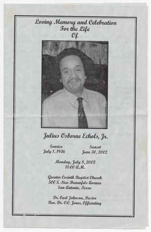 Primary view of [Funeral Program for Julius Osborne Echols, Jr., July 8, 2002]