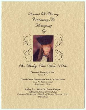 Primary view of object titled '[Funeral Program for Shirley Wauls-Eddie, February 6, 2003]'.