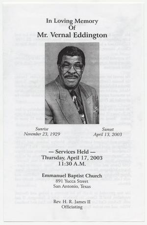 Primary view of object titled '[Funeral Program for Vernal Eddington, April 17, 2003]'.