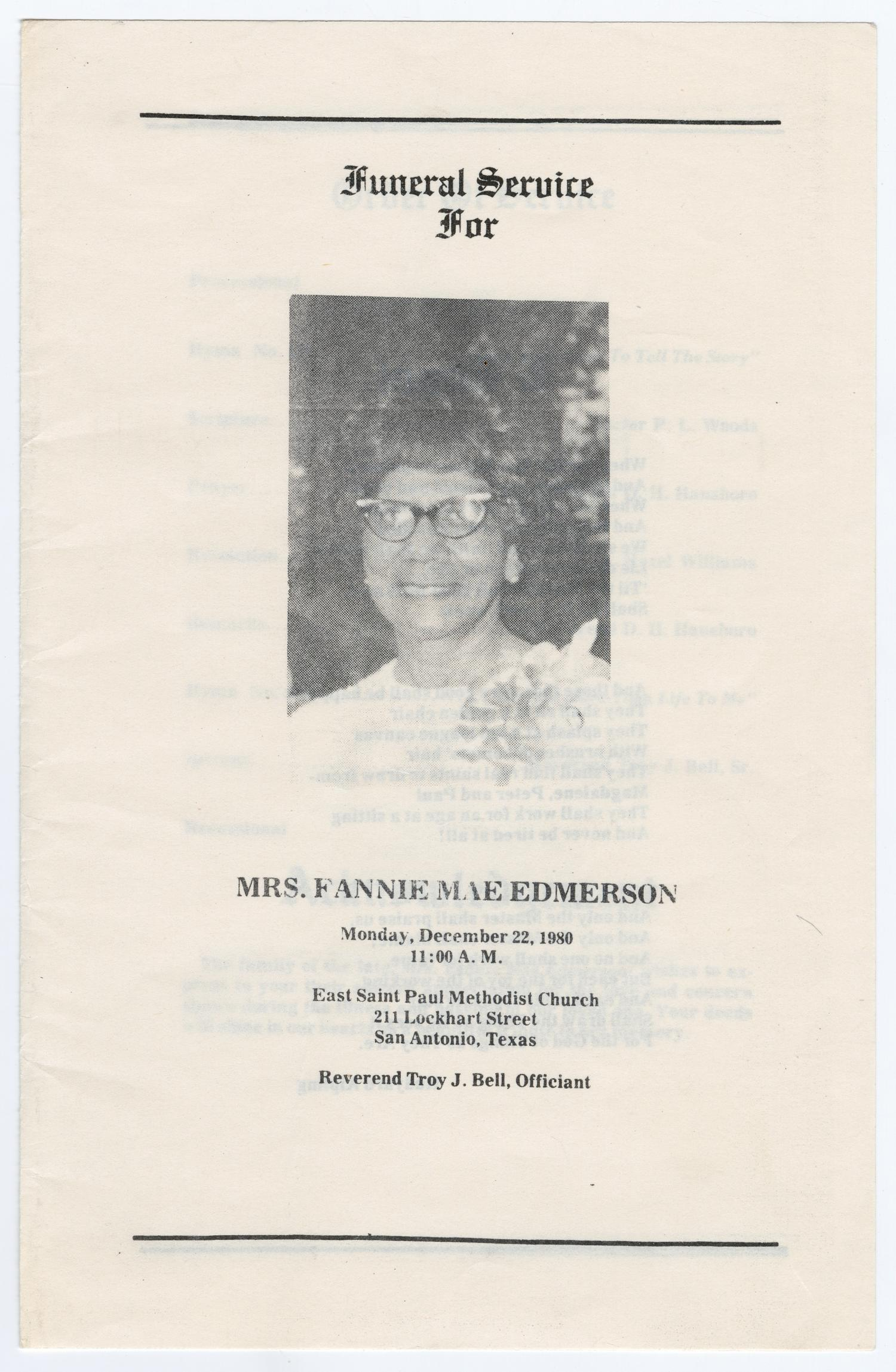 [Funeral Program for Fannie Mae Edmerson, December 22, 1980]                                                                                                      [Sequence #]: 1 of 7