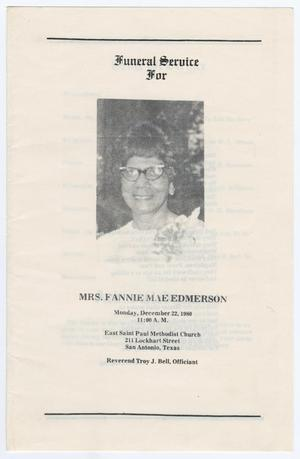 Primary view of object titled '[Funeral Program for Fannie Mae Edmerson, December 22, 1980]'.