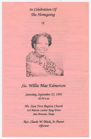 Primary view of object titled '[Funeral Program for Willie Mae Edmerson, September 25, 1993]'.