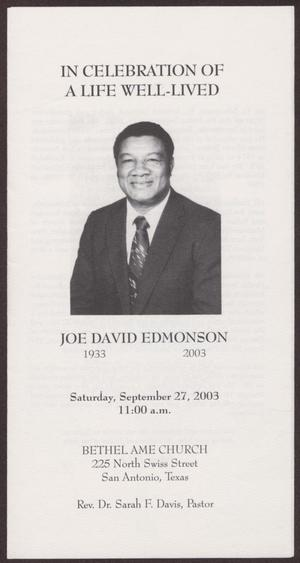 Primary view of object titled '[Funeral Program for Joe David Edmonson, September 27, 2003]'.
