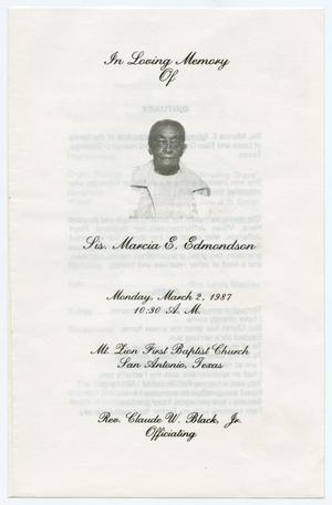 Primary view of object titled '[Funeral Program for Marcia Edmondson, March 2, 1987]'.