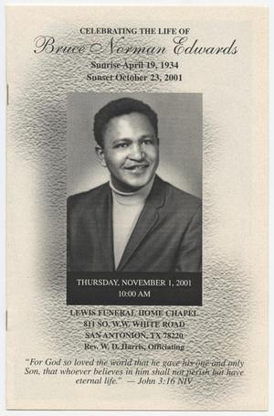 Primary view of object titled '[Funeral Program for Bruce Norman Edwards, November 1, 2001]'.