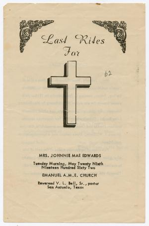 [Funeral Program for Johnnie Mae Edwards, May 29, 1962]