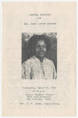 Primary view of object titled '[Funeral Program for Ruby Linton Edwards, April 13, 1983]'.