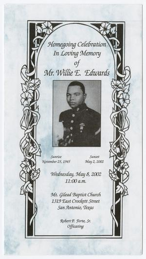 Primary view of object titled '[Funeral Program for Willie E. Edwards, May 8, 2002]'.