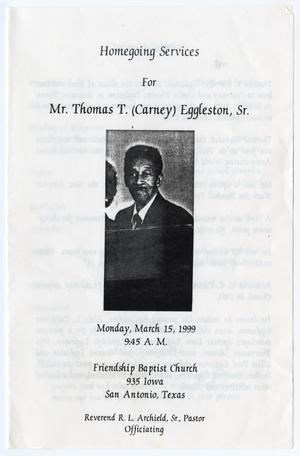 Primary view of object titled '[Funeral Program for Thomas T. Eggleston, Sr., March 15, 1999]'.