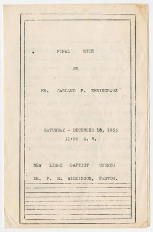 Primary view of object titled '[Funeral Program for Garland Ehringhaus, December 18, 1965]'.
