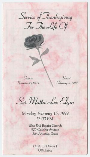 Primary view of object titled '[Funeral Program for Mattie Lee Elgin, February 15, 1999]'.