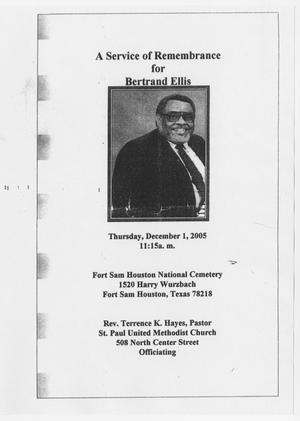 Primary view of object titled '[Funeral Program for Bertrand Ellis, December 1, 2005]'.