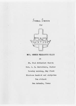 Primary view of object titled '[Funeral Program for Bessie Ellis, May 1, 1962]'.