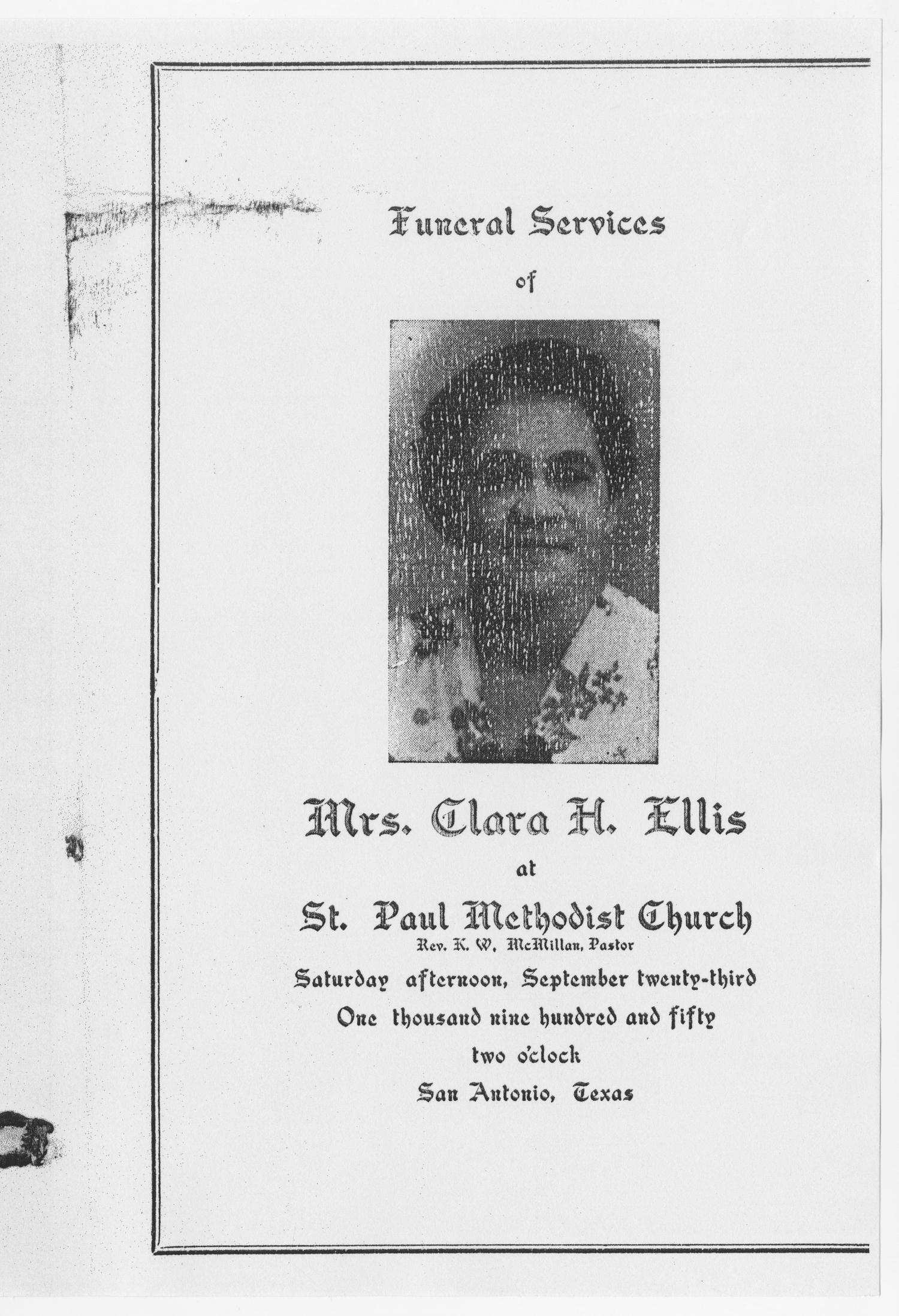 [Funeral Program for Clara H. Ellis, September 23, 1950]                                                                                                      [Sequence #]: 1 of 3
