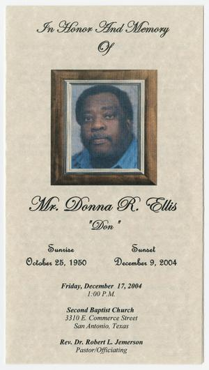 [Funeral Program for Donna Ellis, December 17, 2004]