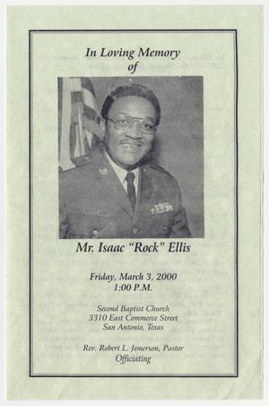 Primary view of object titled '[Funeral Program for Isaac Ellis, March 3, 2000]'.