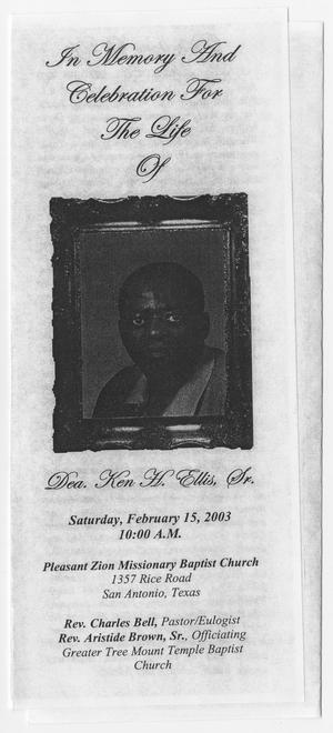 Primary view of object titled '[Funeral Program for Ken Ellis, Sr., February 15, 2003]'.