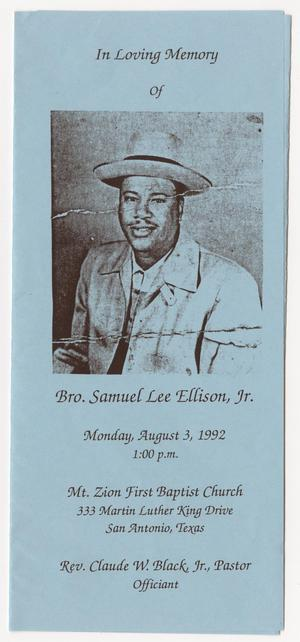Primary view of object titled '[Funeral Program for Samuel Lee Ellison, Jr., August 3, 1992]'.