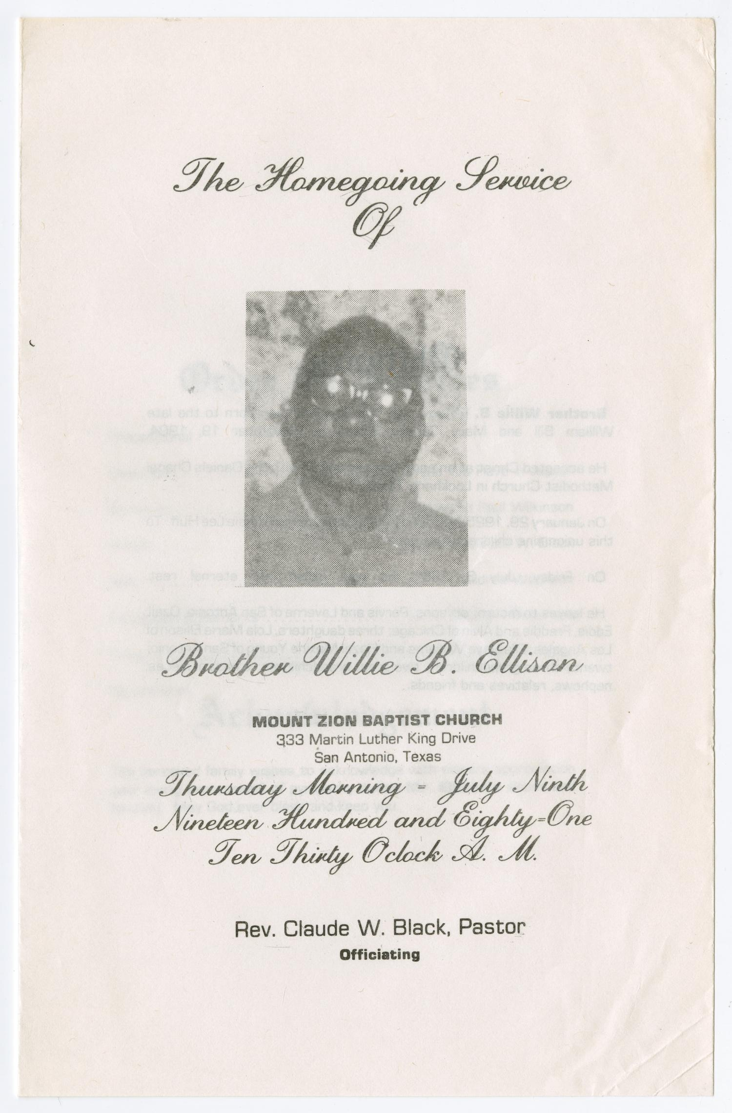 [Funeral Program for Willie B. Ellison, July 9, 1981]                                                                                                      [Sequence #]: 1 of 3
