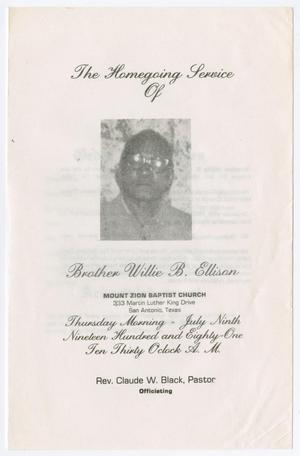 Primary view of object titled '[Funeral Program for Willie B. Ellison, July 9, 1981]'.