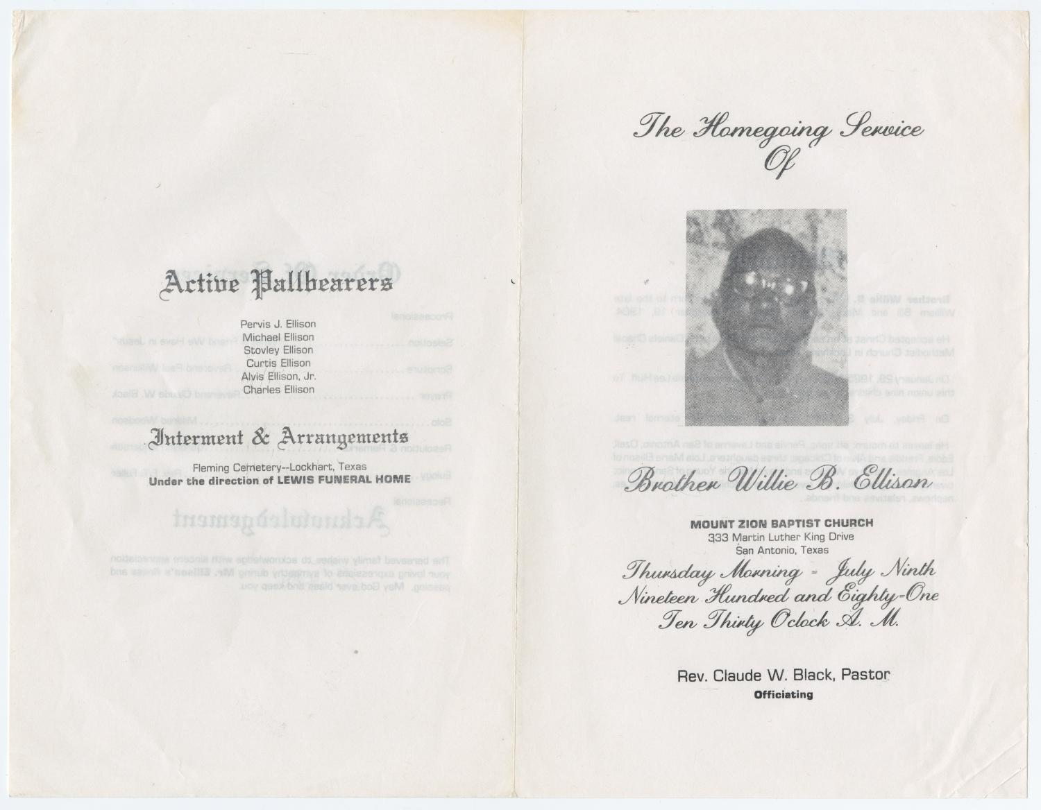 [Funeral Program for Willie B. Ellison, July 9, 1981]                                                                                                      [Sequence #]: 3 of 3