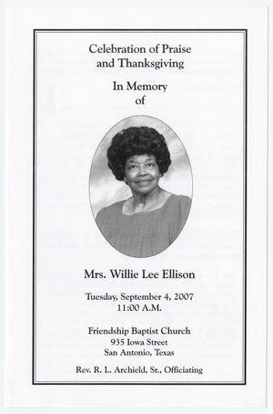 Primary view of object titled '[Funeral Program for Willie Lee Ellison, September 4, 2007]'.